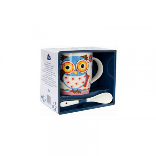 Кружка с ложкой Milika Owl Blue Color M0520-NM-12 (350 мл)