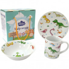 Набор для завтрака 3 предмета Milika Dino Land M0690-8 (кружка 240 мл, тарелка 17,5 см, салатник 15 см)