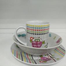 Набор для завтрака 3 предмета Milika Sweet Couple  M0690-TH5849 кружка (240 мл),тарелка (17,5 см),салатница (15 см)