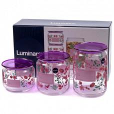 Набор банок для сыпучих продуктов Luminarc Irises Purple P9216 (0,5л,0,75л,1л) 3пр
