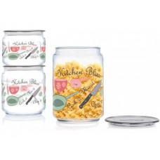 Емкость для сыпучих Luminarc Plano Kitchen Bliss Q3833 (0,5л,0,75л,1л) 3пр