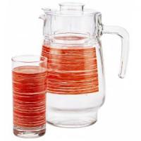 Набор питьевой кувшин + стаканы Luminarc Brush Mania Red P7452 7пр.