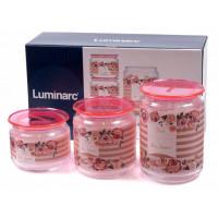 Набор банок для сыпучих Luminarc Plano Rosettes Pink P9213 3пр.