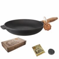 Сковорода чугунная литая с деревянной ручкой S&T Т303 (26*4см)