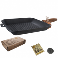 Сковорода чугунная литая квадратная (гриль) S&T Т307 (28*28*4см)