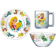 Набор детской посуды ОСЗ Disney Рапунцель 18с2055 ДЗ Рапунц (19.6 см/13 см/250 мл) - 3пр