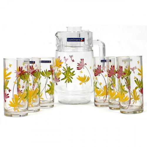 Кувшин со стаканами Luminarc Crazy Flowers N0802/G4621 (кувш.1,6л,стак.270мл-6шт)-7пр