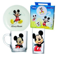 Детский набор Luminarc Disney Mickey Colors H5320 (чаш.250мл,стак.270мл,тар.20см)-3пр