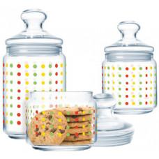 Набор банок для хранения сыпучих продуктов Luminarc Color Art P2314 (0,5л,0,75л,1л)-3пр