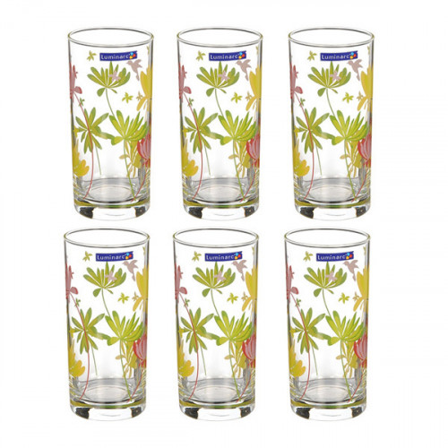 Набор высоких стаканов Luminarc Crazy Flowers 6 шт N0753 (270мл)