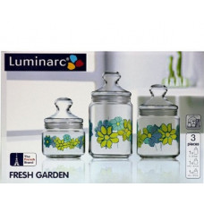 Набор банок для сыпучих продуктов Fresh Garden Blue J6824 (0,5л,0,75л,1л)-3пр