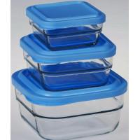 Набор квадратных пищевых контейнеров Pasabahce Гурмет 97826 (0,45л+1л+1,97л)-3шт