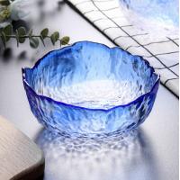 Салатник Abra O8030-173 стеклянный Маковка 19.5 см синий большой
