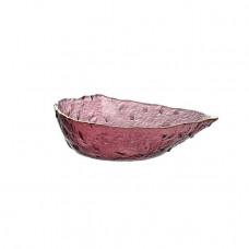 Салатник Abra O8030-157 стеклянный Капля с золотым ободком 21 см розовый