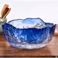 """Салатник Abra O8030-162 стеклянный """"Золотая Маковка"""" 16.5 см синий средний"""
