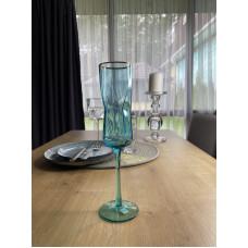 Бокал для шампанского голубая геометрия Abra 250 мл OLGS1001-1 голубой