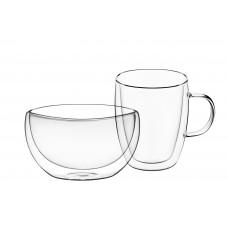Чашка 270 мл и пиала 500 мл с двойными стенками Ardesto AR2650BG