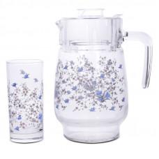 Кувшин со стаканами Arcopal Romantique N3217 (кувш.1,3л,стак.310мл-6шт)-7пр