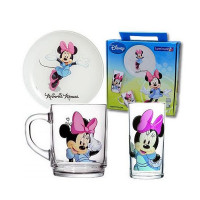 Детский набор Luminarc Disney Minnie Colors H5321 (чаш.250мл, стак.270мл,тар.20см)-3пр