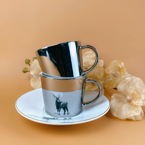 Зеркальная чашка с блюдцем олень (отражает рисунок) 250 мл Abra ab8030-87